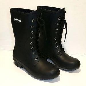 Roma Rain Boots Black Size 6 Womens NWOT